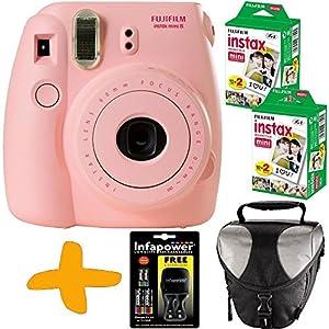 Fuji Instax Mini 8 Rosa Sofortfilmkamera + Tasche + 40 Fotos + Uniross NiMH-Akkus und Ladegerät (Sofortige Fotos in Kreditkartengröße Fangen Sie den Augenblick und gemeinsam den Spaß.).