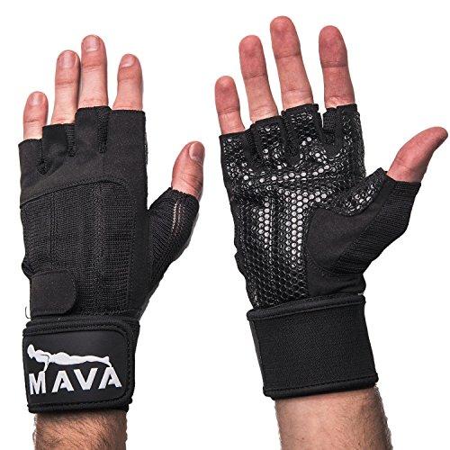 Mava Fitness Gloves: Bar Mitts Mountain Mitts, Black, Large