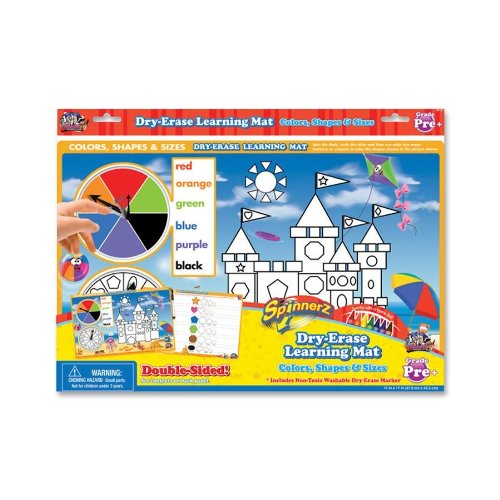 Board Dudes 99104UA12 Spinner Dry-Erase Mat, Colors/Shapes, Assorted
