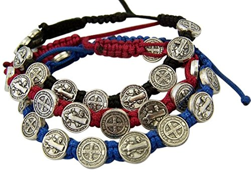 Saint-Benedict-Evil-Protection-Medal-on-Adjustable-Cord-Bracelet-Set-of-3-8-Inch