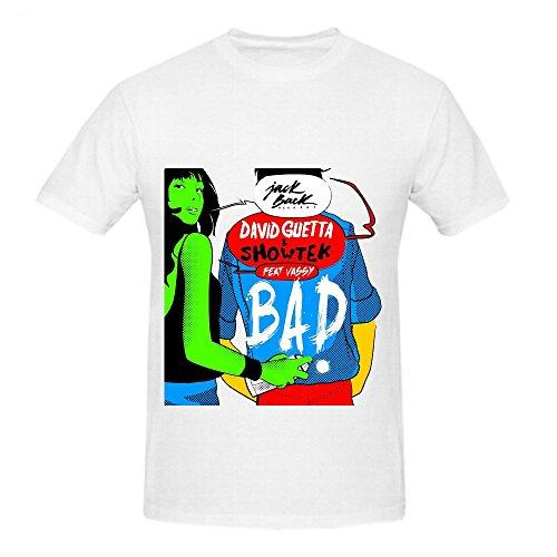 David Guetta Bad Mens Crew Neck Cute T Shirts White