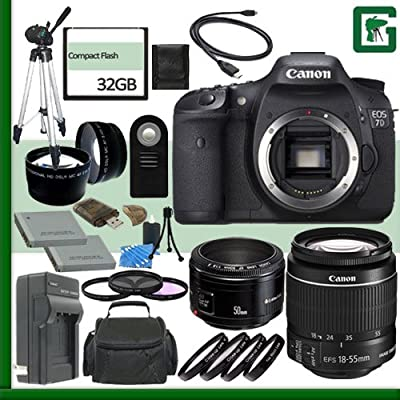 Canon EOS 7D Digital SLR Camera and Canon 18-55mm Lens and Canon 50mm f/1.8 Lens + 32GB Green's Camera Package 2