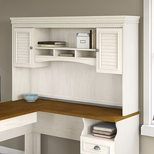 Fairview Hutch for L Shaped Desk in Antique White (Bush Fairview compare prices)