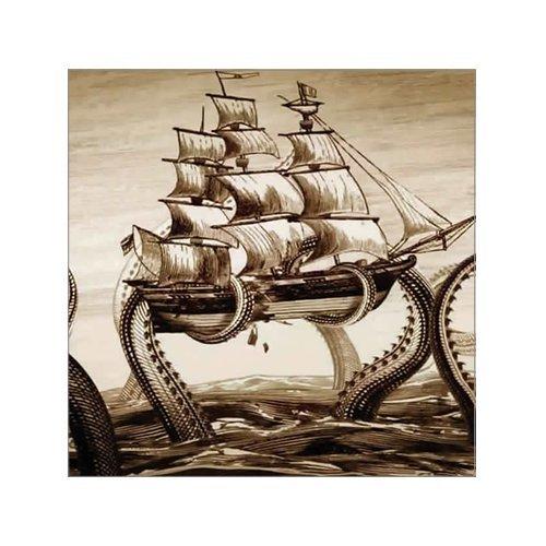 Beautiful Modern Art Painting Octopus Pirate Ship Canvas Print Wall Art 8