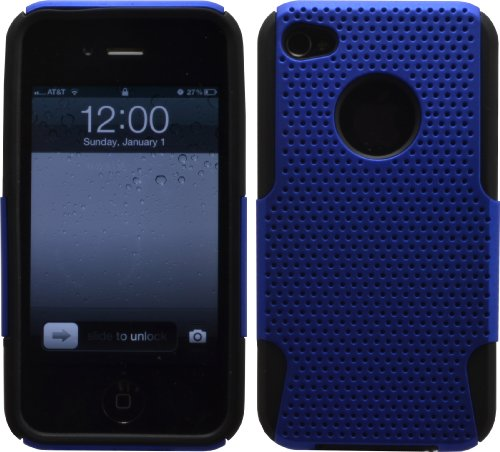 Black / Blue Mesh Hybrid Hard Silicone Rubber Gel Case Cover For Iphone 4 4S 4G