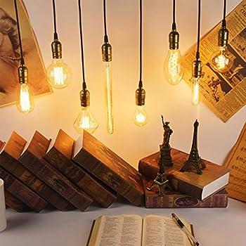 KINGSO Vintage Edison Bulbs 60W Tubular Nostalgic Filament Incandescent Antique Dimmable Light Bulb for Home Light Fixtures E27 Base T10 110V - 4 Pack