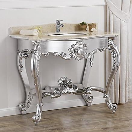 Consolle lavabo stile Luigi Filippo Moderno foglia argento marmo crema