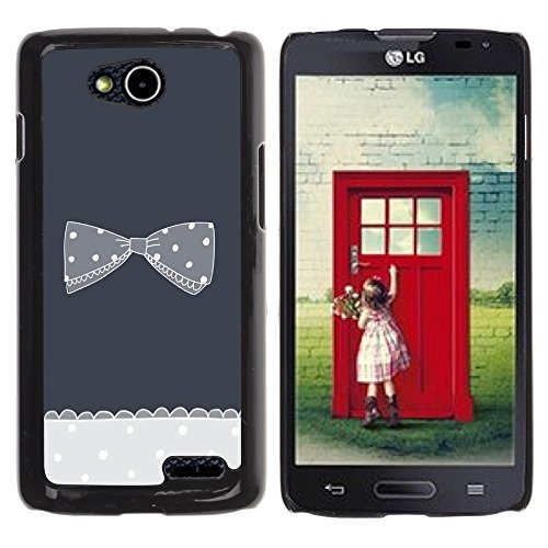 Planetar® ( Bow Bowtie Grey Crocheted Polka Dot ) LG OPTIMUS L90 / D415 Hard Printing Protective Cover Protector Sleeve Case