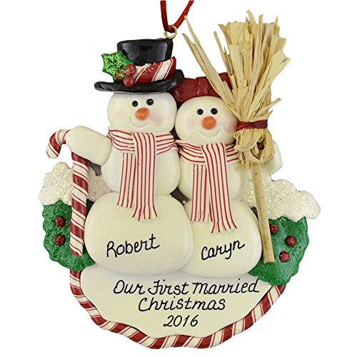 Newlyweds First Christmas Snow Couple Christmas Ornament