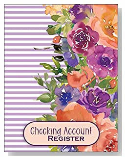 Flowers on Purple Stripes Checking Account Register - A beautiful book with wide lines to easily track all your checking account activity without having to write tiny and cram everything into those little check register booklets.