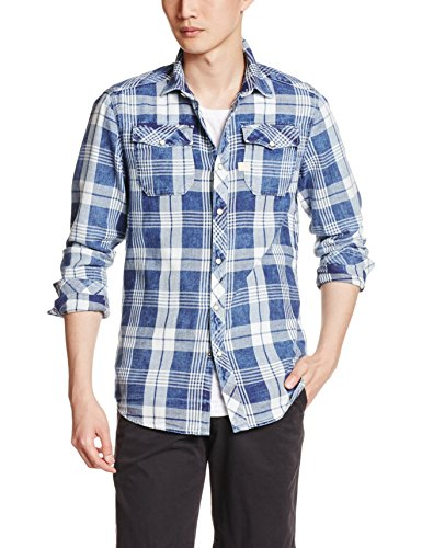 G-STAR RAW Landoh Shirt l, Camicia Uomo, Indigo/Milk Check 6082, XS (Taglia Produttore XS)