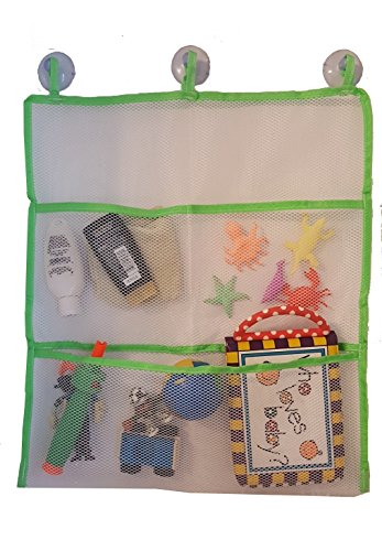 Bath Toy Organizer Has 3 Sewn In Suction Cups, Extra Strong Hold PLUS 5 Sea Animals That Grow In Water