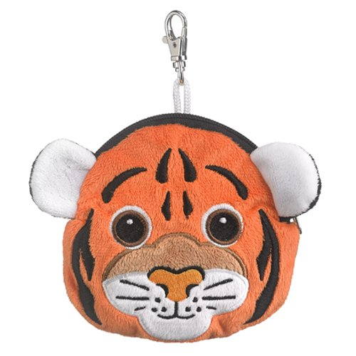 Tiger Stuffed Animal Plush Pouch Purse Animal Case Clip on Bag Animal Zipper Pouch Wallet Bag