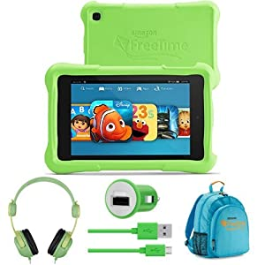 Fire HD Kids Edition Bundle - Includes Fire HD Kids Edition Tablet, Kids Headphones and Backpack, and Car Charger