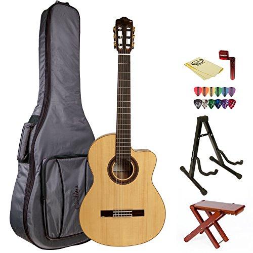 Cordoba Gk Studio Negra Acoustic Guitar With Cordoba Gig Bag, Wood Foot Stool, Chromacast Stand, String Winder, 12 Pick Sampler And Polishing Cloth