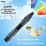 Intelligent 3D Printing Pen for Doodling,EEDI 3D Pen Drawing Doodle Art & Craft Making with LCD Screen,3D Modeling and Education,with 1.75mm PLA Filament(5 colors,9.8ft each color),Gray