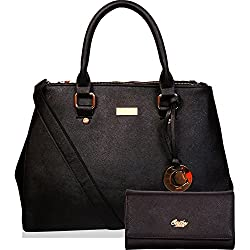 Cathy London Women's Handbag & Wallet Combo Bag (Black,Cathy-80)