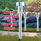 S M Arcade Solar Powered Rechargeable LED Lawn Garden Light Lamp Waterproof rechargeable battery Silver (SM-21/18/WW)