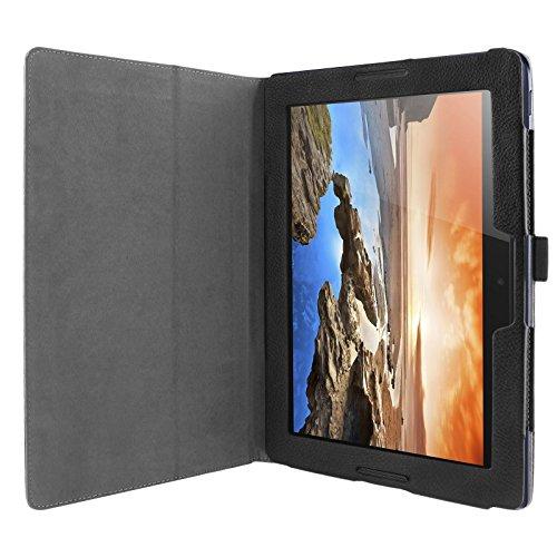 Tasche für Lenovo A10-70 25,7 cm (10,1 Zoll HD IPS) Tablet Schutz Hülle Case Cover Schutztasche Schutzhülle Etui Bookstyle Leder-Optik schwarz