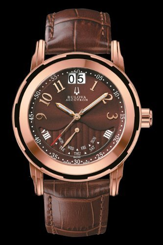 Accutron by Bulova Exeter Rose Gold Tone Mens Strap Watch Calendar 65C100
