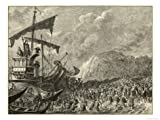 The Roman Invasion Force Under Julius Caesar Lands in Britain Met by a Horde of Natives Giclee Print Art (32 x 24 in)