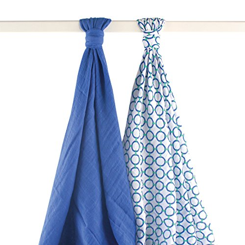 Yoga Sprout Muslin Swaddle Blankets, Blue Dog, 2 Count - 1