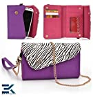 PURPLE & ZEBRA | Universal Women's EPI Leather Wallet Phone Bag with Wrist Strap Shoulder Purse fits LG Thrive Case. Bonus Ekatomi Screen Cleaner