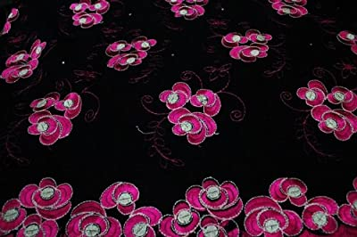 Black,voile Lace Fabric, African Design, Embroidery Poly Cotton Textile, in 11 Colors
