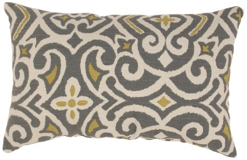 Pillow Perfect Gray/Greenish-Yellow Damask Rectangular Throw Pillow