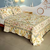 51NWYCl7S%2BL. SL160  [Sweet Taste] 100% Cotton 3PC Vermicelli Quilted Patchwork Quilt Set (Full/Queen Size)