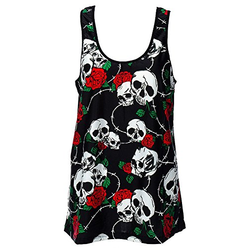 Canottiera Skull Wire Rose Banned (Nero) - Large