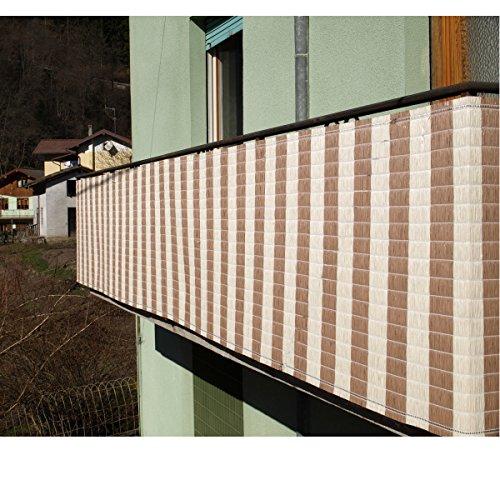 Balkon-Sichtschutz-90x300-Natur-Braun-aus-langlebigem-PP-Bast-Balkonverkleidung-Balkon-3m-90cm-Windschutz-Sichtschutz-Balkonbespannung-Schutz