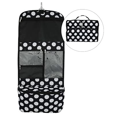 Ladies Black Polka Dot Travel Tote / Professional Cosmetic Bag