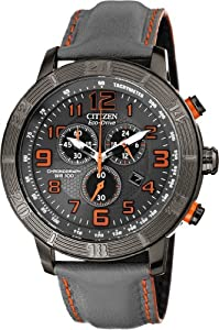 Citizen #AT2227-08H Men's Eco Drive BRT Drive Leather Band Chronograph Watch