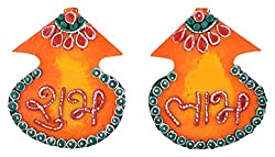 999Store handmade multicolour wooden kalash shubh labh diwali door hanging diwali