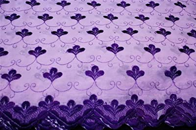 Lavender,embroidery Polycotton African Lace Textile in 11 Colors, Blended Cotton Voile