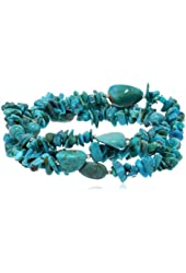 """Sterling Silver Turquoise Nugget and Chip Set of Three Bracelets, 7.5"""""""