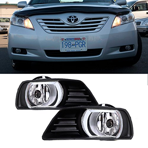 VioGi Fit:07-09 Toyota Camry Clear Lens Fog Lights Kit w/ Bulbs+Cover+Switch+Wiring Harness+Relay+Bracket+Necessary Mounting Hardware (Toyota Camry Fog Light Cover 2009 compare prices)