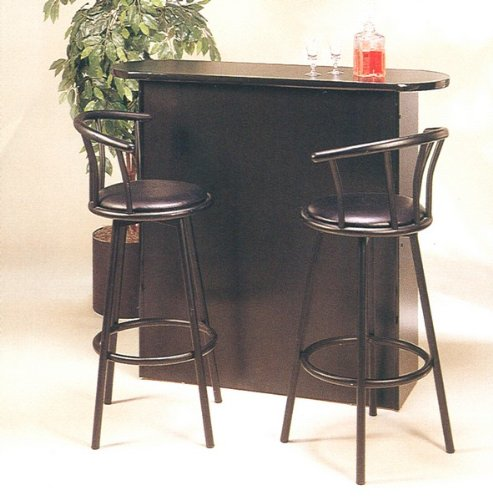 Home Bar Furniture Online 3pc Retro Style Black Bar Pub Table 2 Stools Set