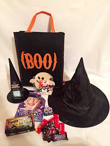 Halloween Witch Gift Bag Set Trick Or Treat Pack Hat Cotton Candy Face Tattoos Candy Activity