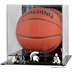 Michigan State Spartans Golden Classic Logo Basketball Display Case with Mirror by Mounted Memories
