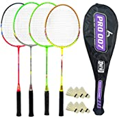 Guru Pro BR09 COMBO-04 Badminton Racket Set Pack Of Four With Four Cover & 6 Shuttlecock Size: 27 Inch