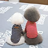 【ノーブランド品】犬 猫 ストライプ Tシャツ セーター ペット 秋 アパレル 3色5サイズ選べる - ダークブルー, L