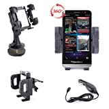 DURAGADGET 3 In 1 Quick Release Car Mount With Bonus Car Charger For For The New Blackberry Z30, Z5, Z10 & Curve 9380