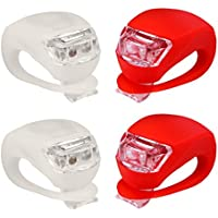 AFS® Set Of 4 PC (W/R)-Front And Rear Silicone LED Bike Light Set - Includes 2 High Intensity Water Resistant...