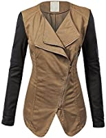 MBJ Womens Faux Leather Jacket with Hoodie
