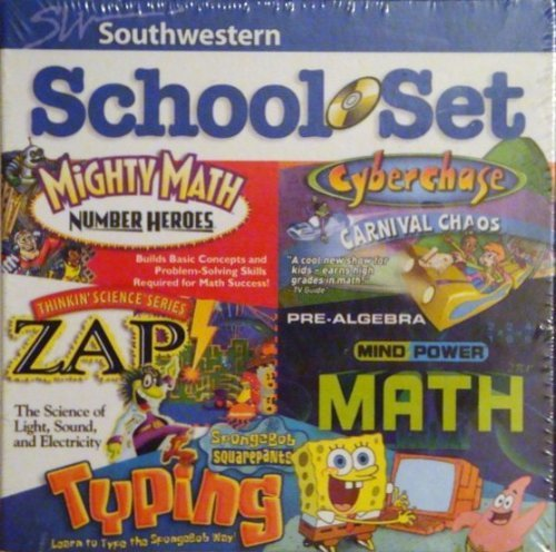Southwestern School Set: Mighty Math Number Heroes, Cyberchase Carnival Chaos, Thinkin' Science Series Zap!, Mind Power Math Pre-Algebra, Spongebob Squarepants Typing