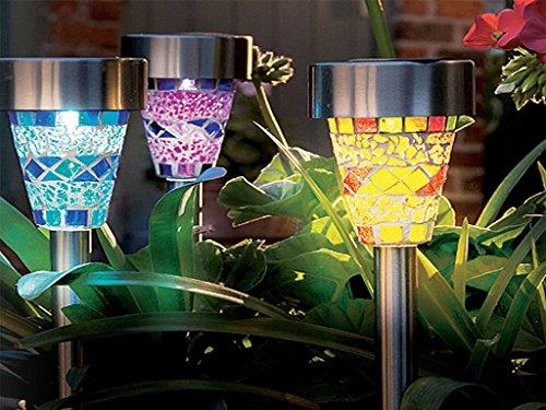 In acciaio INOX a energia solare su palo da giardino, in mosaico, colore: luci-Lanterne Decorative di luce notturna da giardino ecologica a energia solare