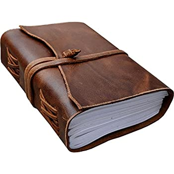 Antique Dark Brown Crazy-Horse Wax Leather Journal (Handmade) - Leather Cord Coptic Bound and leather tie closure