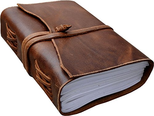 Antique Dark Brown Crazy-Horse Wax Leather Journal (Handmade) - Leather Cord Coptic Bound and leather tie closure 0